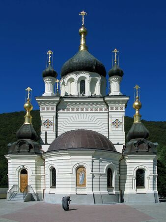 The old women worship in Foros Church. (Foros, Crimea, Ukraine)