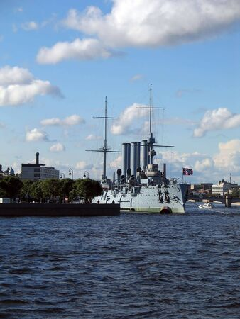 Summer view of a huge battleship - Russian Cruiser  photo