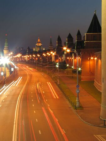 Night view of the walls of Moscow Kremlin. Russia. photo