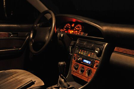 Night view of car interior from passenger seat. photo