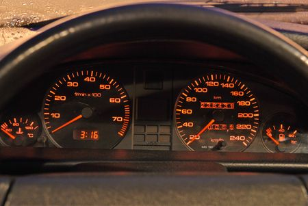 Car dashboard with red lights. Evening. Rain. Stock Photo - 883523