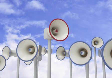 stand out: Stand out megaphone in field of megaphones