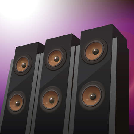 hifi:  Three hi-fi speakers on abstract background, vector illustration