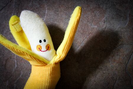 Cute Fuzzy Banana Toy for Child Banque d'images - 136379393