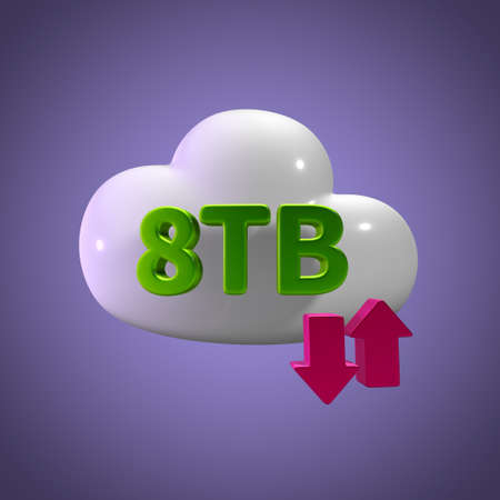 capacity: 3d rendering cloud storage upload download 8 tb capacity Stock Photo