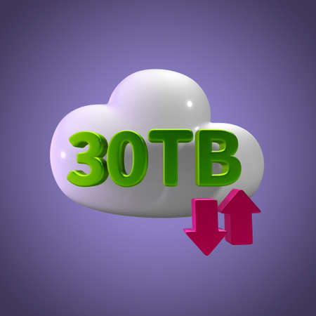 capacity: 3d rendering cloud storage upload download 30 tb capacity