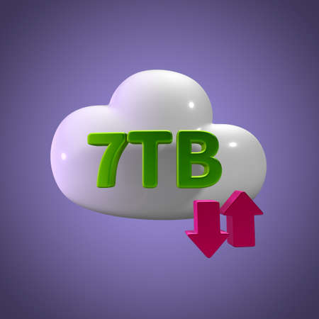 tb: 3d rendering cloud storage upload download 7 tb capacity Stock Photo