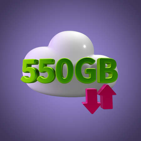 capacity: 3d rendering cloud download upload 550 gb capacity Stock Photo