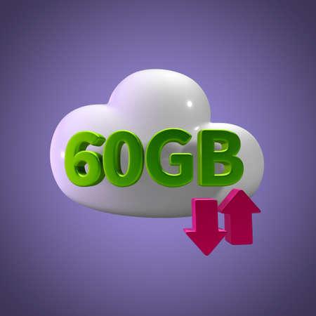 3d rendering cloud download upload 60 gb capacity Stock Photo