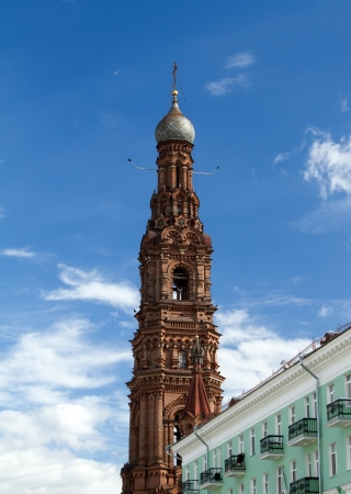 Bell tower of the Epiphany church in Kazan city