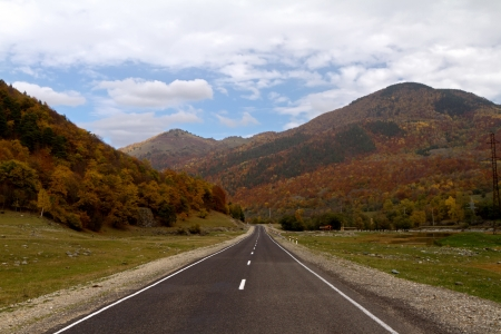 Highway in the valley of the mountains covered by autumn forest