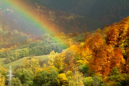 bright rainbow and the autumn forest on a hillside Stock Photo