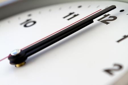 12 o'clock: 12 on the white wall clocks  isolated  Stock Photo