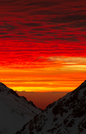 bloody clouds in the mountains (red sunset or sunrise)