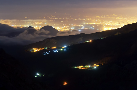 View of Antalya from mountain at night.