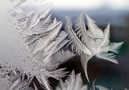 frost painted a pattern on the glass Stock Photo
