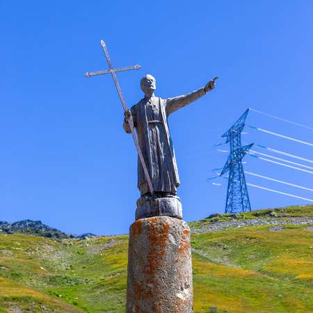 st  bernard: The statue of St Bernard on the border between Italy and France