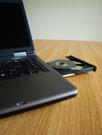 cdrom: cd-rom of laptop is open