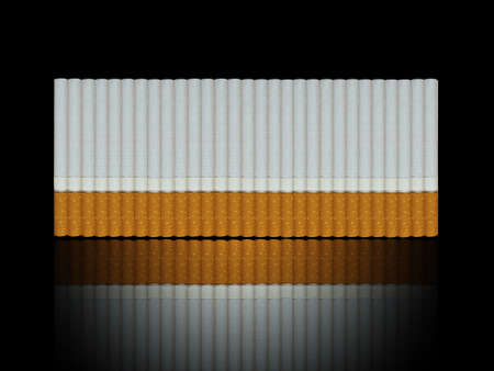 deleterious: cigarettes row with reflection Stock Photo