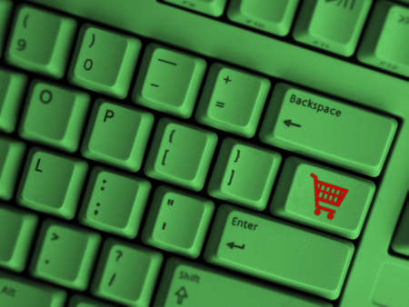 computer keyboard with shopping symbol Stock Photo - 4042446