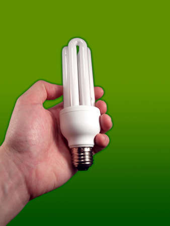 ecology concept. light bulb in human hand Stock Photo - 4243417
