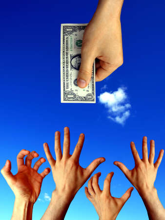 raised hands trying to reach one dollar       Stock Photo - 4835309