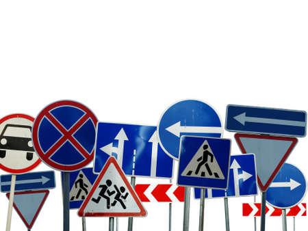 conjunto de se�ales de precauci�n de la carretera en el fondo blanco Foto de archivo - 5148954
