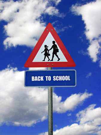warning back: Back to school: road sign with warning for crossing school kids Stock Photo