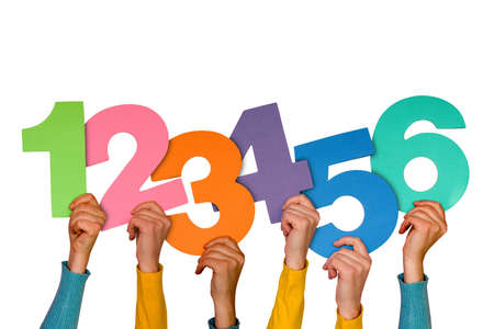 hands with colorful numbers isolated on white background