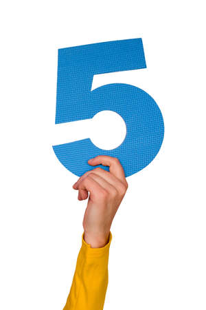 number five in hand,isolated on white background Stock Photo - 6453338
