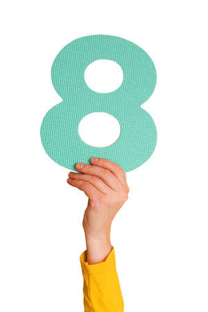 number eight  in hand,isolated on white background Stock Photo - 6474923