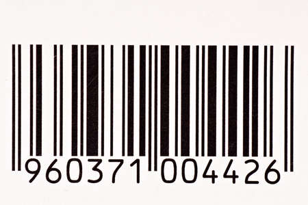 close up of black and white barcode with numbers Stock Photo