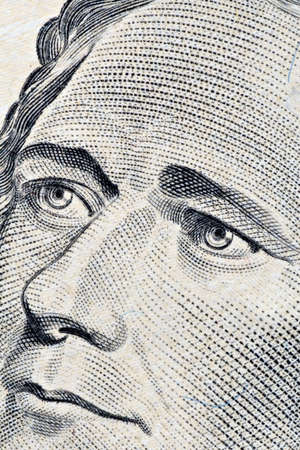 Close-up of Alexander Hamilton's ten dollars portrait Stock Photo - 6867873