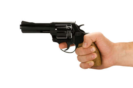 revolver: hand with revolver gun isolated on white background Stock Photo