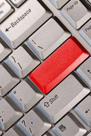 Computer keyboard with red  button , business concept Stock Photo - 7340824