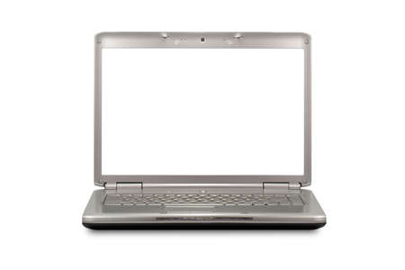 front view of laptop with blank monitor  photo
