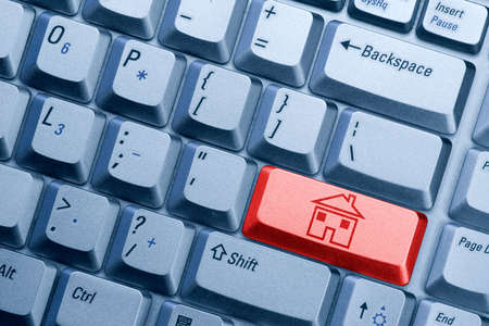 red computer  keyboard button with house icon Stock Photo - 7340830