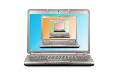 computer technology concept. Open laptops with different color monitors Stock Photo - 7417862