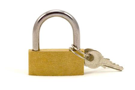 safeguarded: padlock with keys, isolated on white background