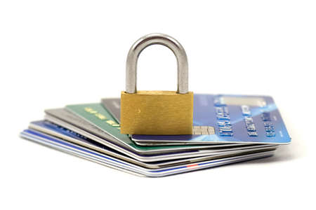 secret password: Credit cards and lock, business security background