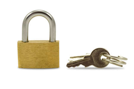 safeguarded: padlock and keys isolated on a white background