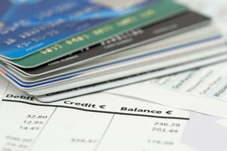 banking expenses, credit cards on bank invoice. very shallow DOF Stock Photo - 7437776