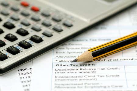 스프레드 시트: financial accounting concept. statement,calculations and taxes