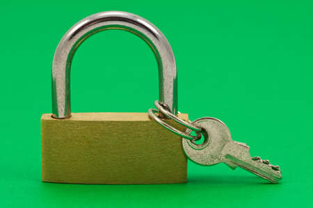 safeguarded:  padlock with keys, isolated on green background