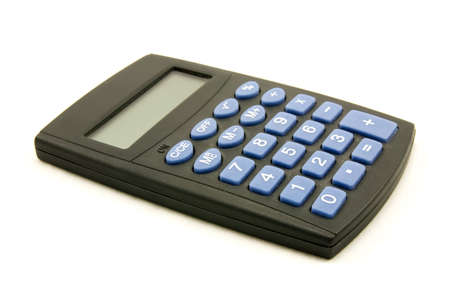 black calculator with blue buttons, on white background Stock Photo - 7548290