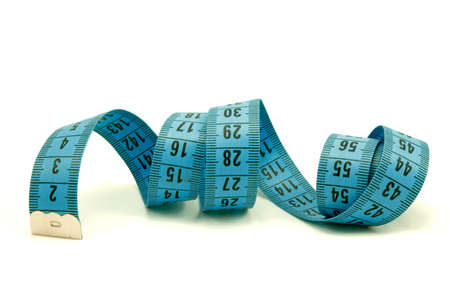 blue measuring tape , on white background Stock Photo - 7590804