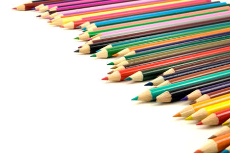 row of colored pencils on white background Stock Photo - 7621666
