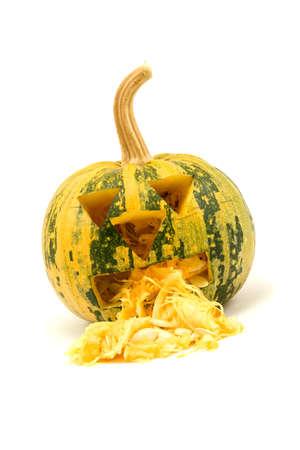 halloween decoration. vomiting pumpkin on white background photo