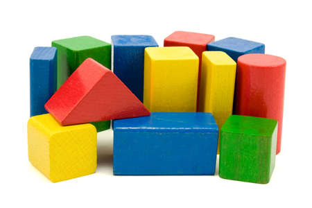 colored play:  colored wooden  blocks isolated on white background