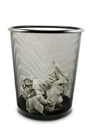 dustbin: Garbage bin with paper waste isolated on white